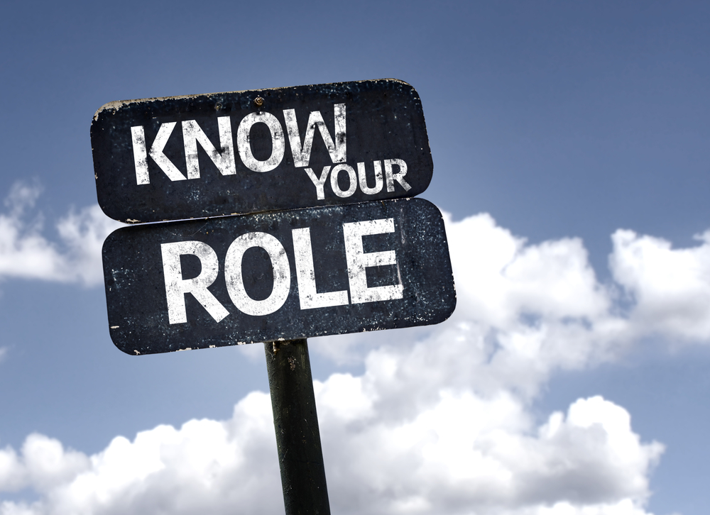 Know your Role sign with clouds and sky background