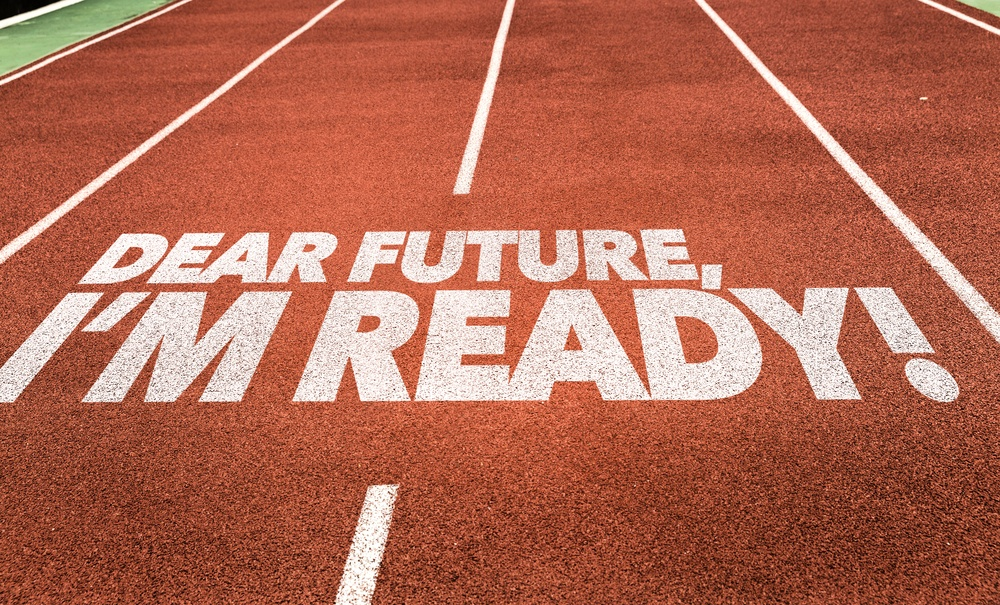 Dear Future, Im Ready written on running track