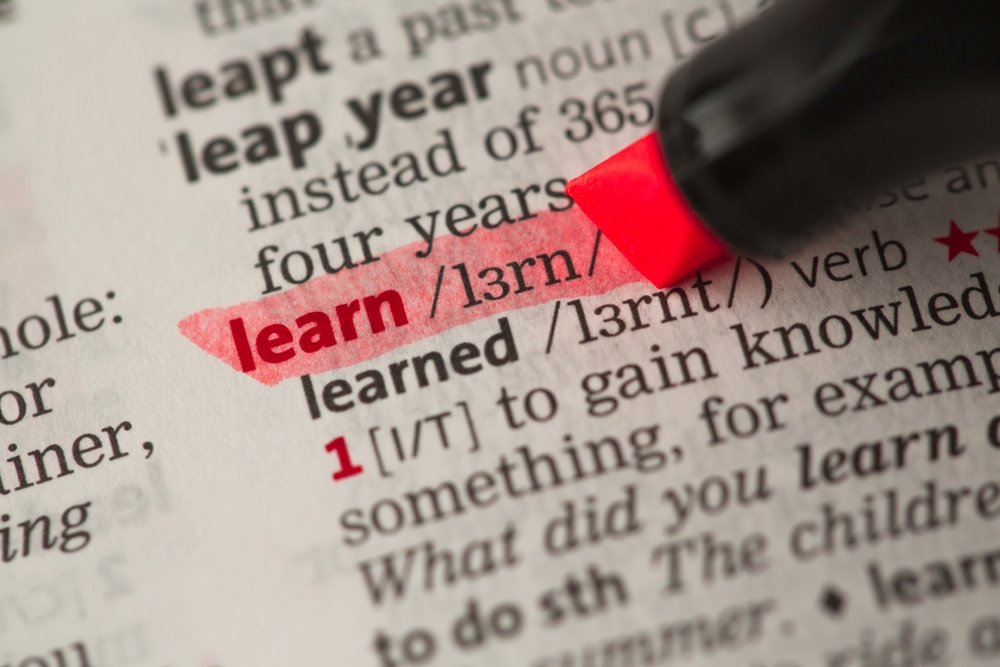 Learn definition highlighted in red in the dictionary
